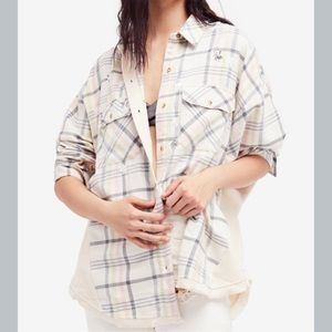 NWT Free People Constellations Within Flannel Top